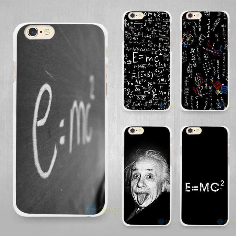 e mc2 with E=mc Math Albert Einstein Hard White Cell Phone Case Cover for Apple iPhone 4 4s 5 5C SE 5s 6 6s 7 Plus