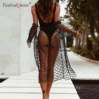 Festival Queen sexy fishnet beads knitted long blouse women handmade knit plus size loose beach holiday hollow see through top