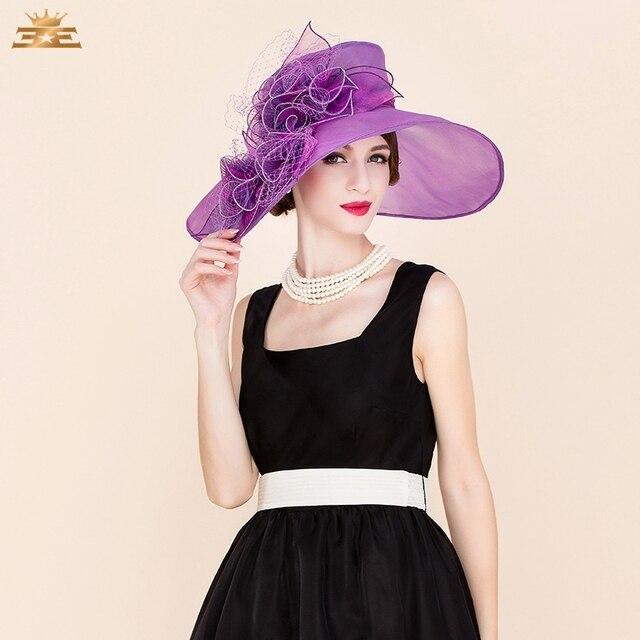 18fee3b0ee9f1 Ladies  Elegant church sombreros Organza Tulle With Bowler Cloche Hat  Women s Summer new fashion dress wedding hat for 4044