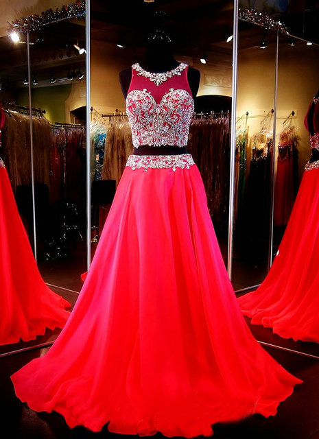 Red Two Piece Prom Dresses A Line Gown Beaded Crop Top Keyhole Back ...