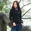 Новая Мода Весна Осень Хлопок Вышитые Водолазка Футболка Женщин Все Матч С Длинными рукавами Основной Рубашка Повседневная Топы