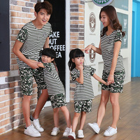 Family Matching Outfits Summer Cotton Camouflage Clothing Boy Girl Short Sleeve T Shirt Shorts Father And