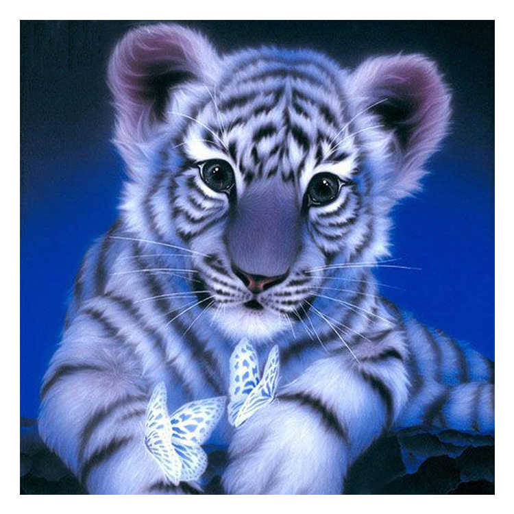 DIY Diamond Embroidery Landscape Animal Tiger Cross Stitch Round drill Diamond Painting Christmas gift