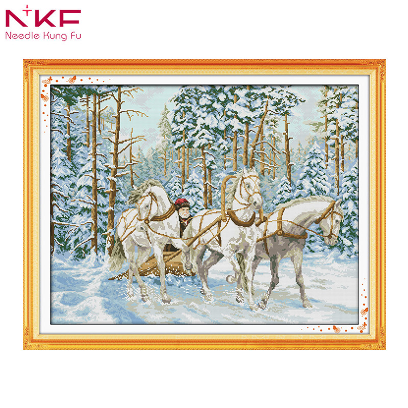 Sled Dog Cross Stitch Kit Animal In Winter Snow 14ct 11ct Count Print Canvas Stitching Embroidery Diy Handmade Needlework Price Remains Stable Electronic Components & Supplies