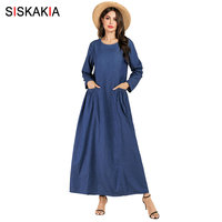 Siskakia Solid Denim Long Dress Casual Women Round Neck Long Sleeve Maxi Dresses Front Pockets Draped Swing Autumn 2019 Blue New