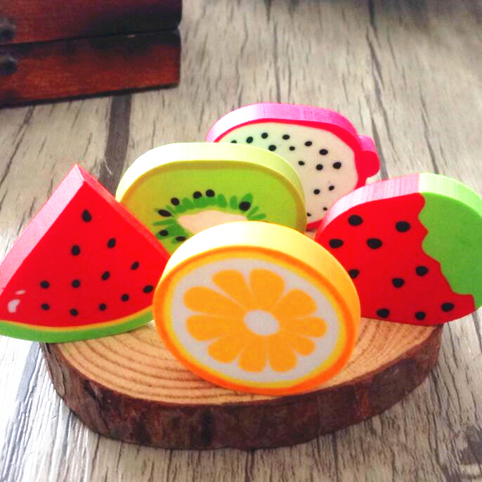 72pcs/lot Cute Fresh Fruit Design Eraser Erasers Kawai  For Kids Lovely  Cute Stationery Children Gift