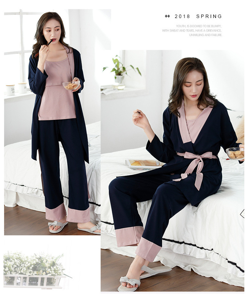 Women Maternity Pajama Clothing Set 3pcs Coat + T Shirt+ Pant Soft Pregnancy Pajamas Sleepwear Pregnant Breastfeeding Tracksuit