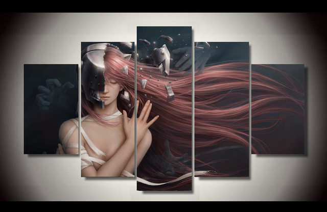 Wall Pictures For Living Room Comics Elfen Lied Painting Children s     Wall Pictures For Living Room Comics Elfen Lied Painting Children s Room  Decoration Print Picture Canvas Printing