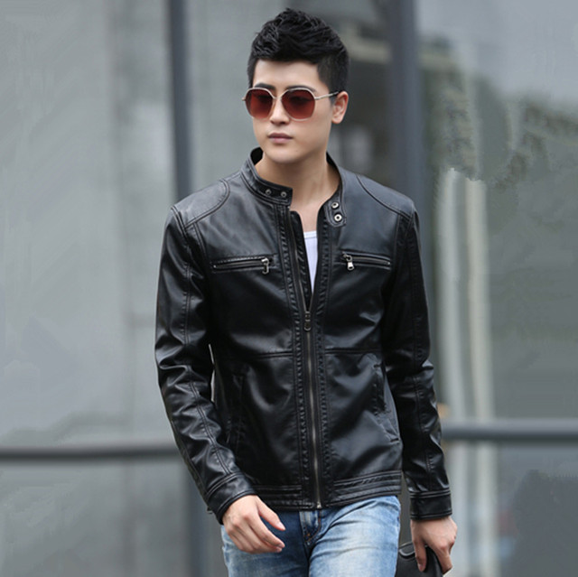 2017 New Winter Men's Slim Korean Scrub PU Leather Jacket Men Stand-up Collar Leather Motorcycle Jacket  Large Size M-5XL