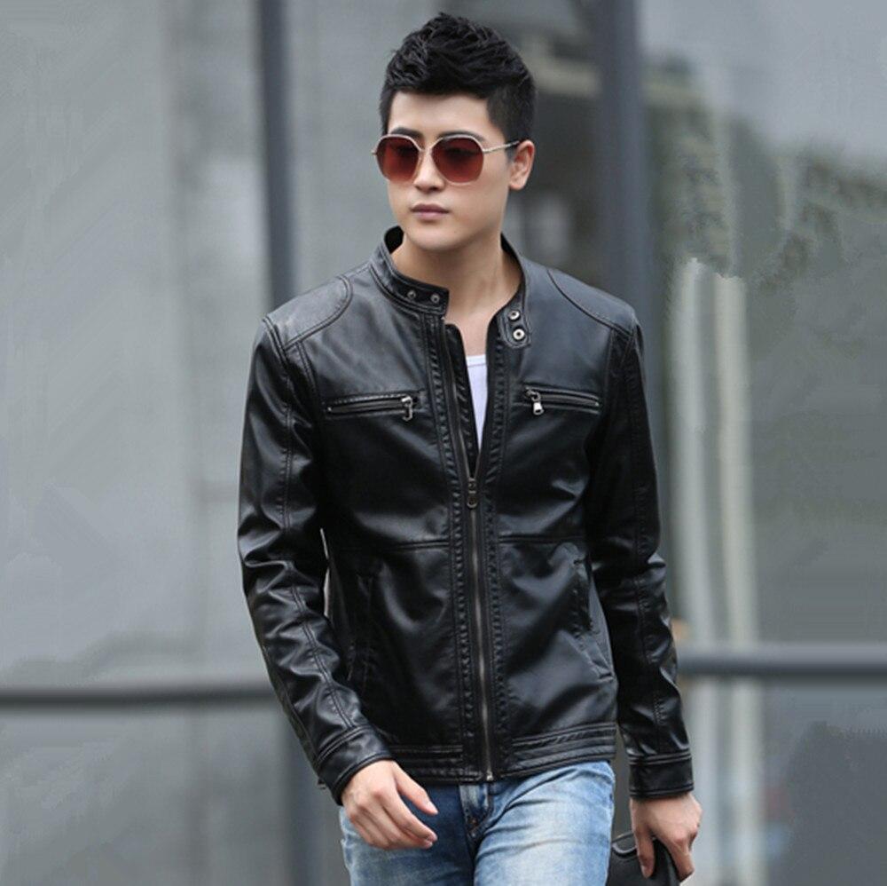 2017 Neue Winter Männer Slim Koreanischen Peeling Pu Leder Jacke Männer Stand-up Kragen Leder Motorrad Jacke Große Größe M-5xl