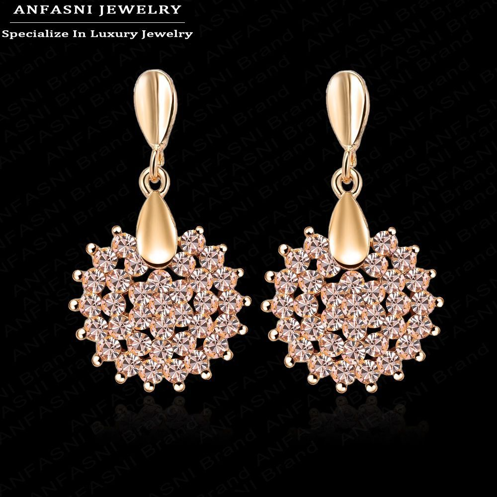 Prom Party Earrings Pink Austrian Crystal Swa Element Earring Studs Fashion  Jewelry 16*28mm Er0071