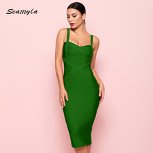 Seamyla 2020 New Fashion Bodycon Bandage Dress Women Spaghetti Straps Criss Cross Vestidos Sexy Mid Calf