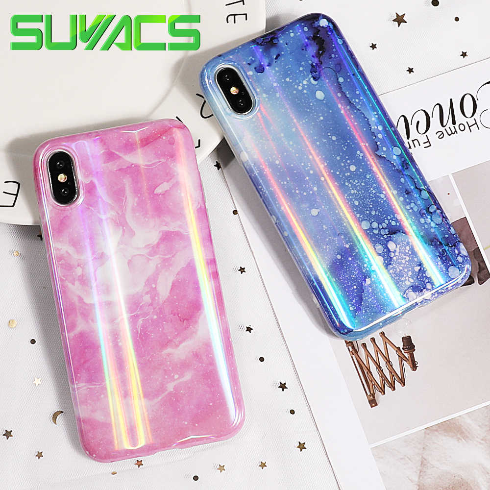 SUYACS Aurora Laser Marble Case For iPhone XS MAX XR X 6 6S 7 8 Plus 48c06fbebbac