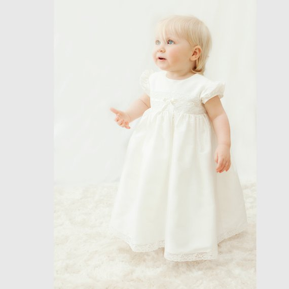 Heirloom Gowns Ivory White Baby Girls Christening Dress Lace Baptism Gown Infant Birthday Dress Real Picture недорого