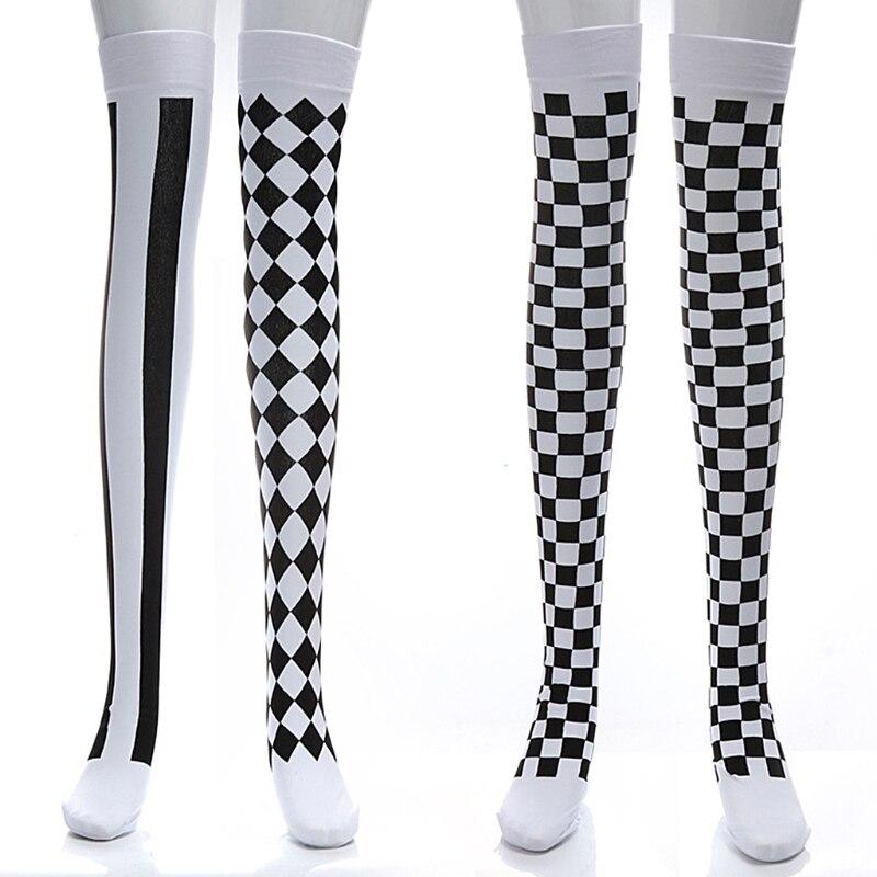 Clown Costume Black White Plaid Knee-High Long Socks Halloween Carnival Party