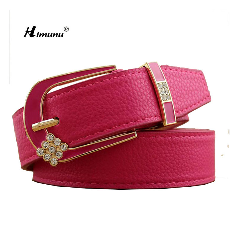 Himunu Sweet Pin Buckle Belts For Women Stars Rhinestone Adornment Fashion Joker Woman Belt 8 Colors Red Black White Girl Belt