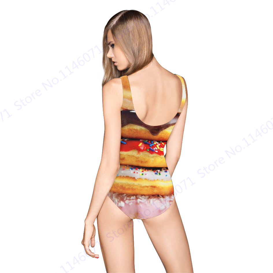f321bc191a8e9 Doughnut Bathing Suit Monokini Delicious Food Print One Piece Swimsuit  Womens Sexy High Cut Brazilian Biquinis Tankinis Backless-in Body Suits  from Sports ...
