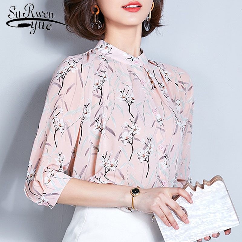 Chiffon   shirt   short sleeved spring 2019 new fashion sweet print floral   blouse     shirts   plus size women   blouses   tops blusas 2222 50