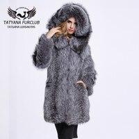 Real Fur Coats For Women Silver Fox Fur Coat With Hood Real Winter Warmer Fur Coat Customize Big Size BF C0002