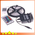 3528 RGB LED Strip 5M 300leds SMD + 12V 2A Power Adapter + 24key IR Remote Controller Flexible Led Light Free Shipping