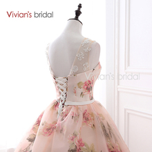 Vivian's Bridal Sweetheart Ball Gown Evening Dress Tank Sleeveless Lace Up Party Dresses Floral Print 2018 Women Evening Gowns