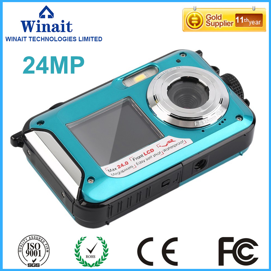 ФОТО Free ShippingWinait 24MP Double Screens Waterproof Anti-shake Digital Camera (2.7+1.8 inch) Full HD 1080P 16x Zoom Camcorder DVR