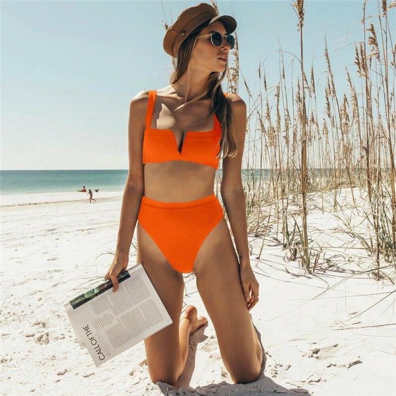 New Fashion Women Lace Up Bikini Set High Waist Swimwear Push-up Padded Bra Swimsuit Bathing Suit Swimwear
