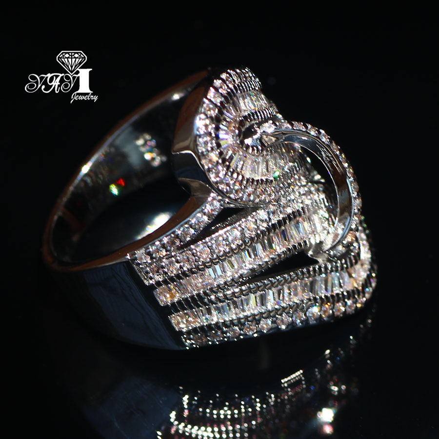 YaYI Jewelry Fashion New Arrival Princess Cut  5.6CT White Zircon Silver Color Engagement Rings Wedding Lovers Party Rings 2