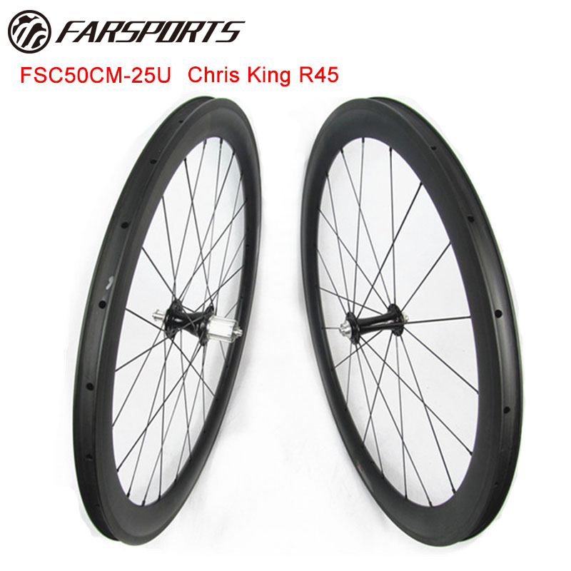High end King bicycle CLINCHER wheelsets 50mm 25mm U-shape 20H 24H 700C farsports riding wheelsets with Sapim aero spoke