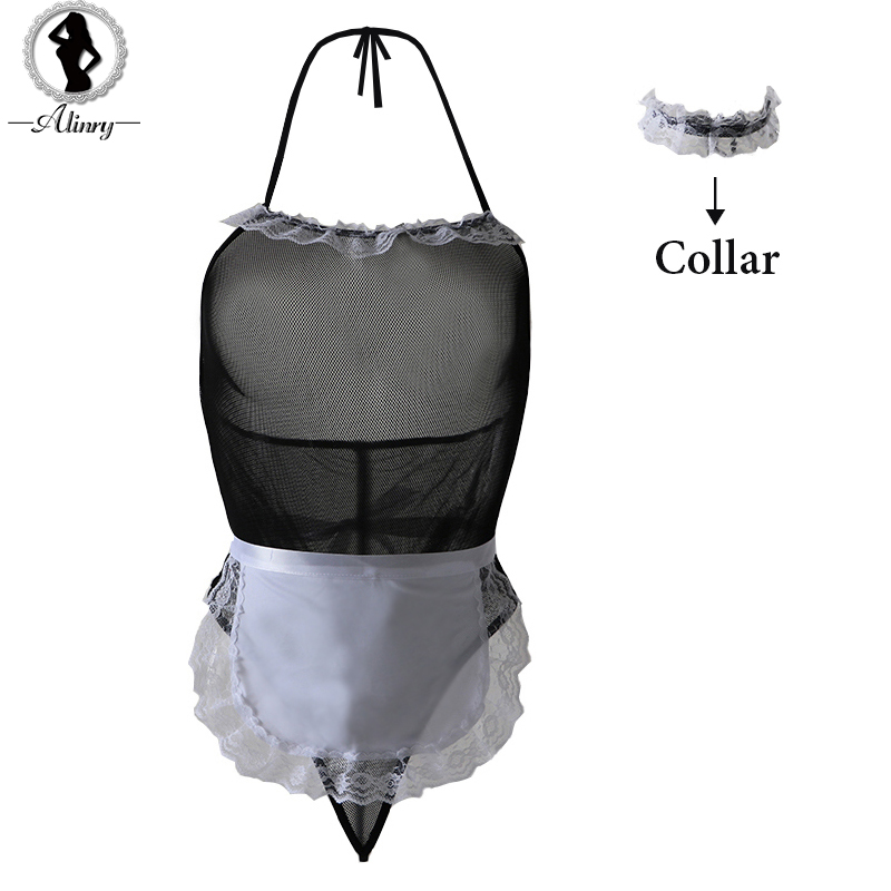 2018 new arrive sexy lingerie cosplay maid erotic lingerie black lace sexy costumes expose breast perspective women underwear