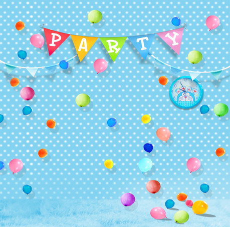 Birthday Kids Photos Background Colorful Balloons Flags Photography Backdrops Light Blue White Spot Fotografia