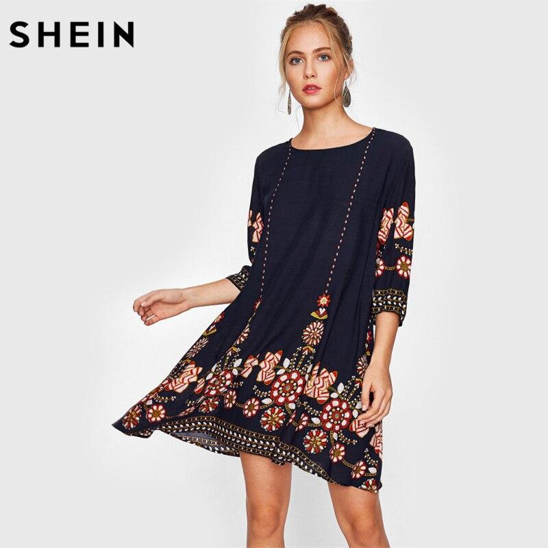SHEIN Flowy Vestido Da Cópia Da Flor de Outono Vestido Boho Senhoras Marinha Três Quartos Comprimento Da Manga A Linha de Vestido Ocasional Queda