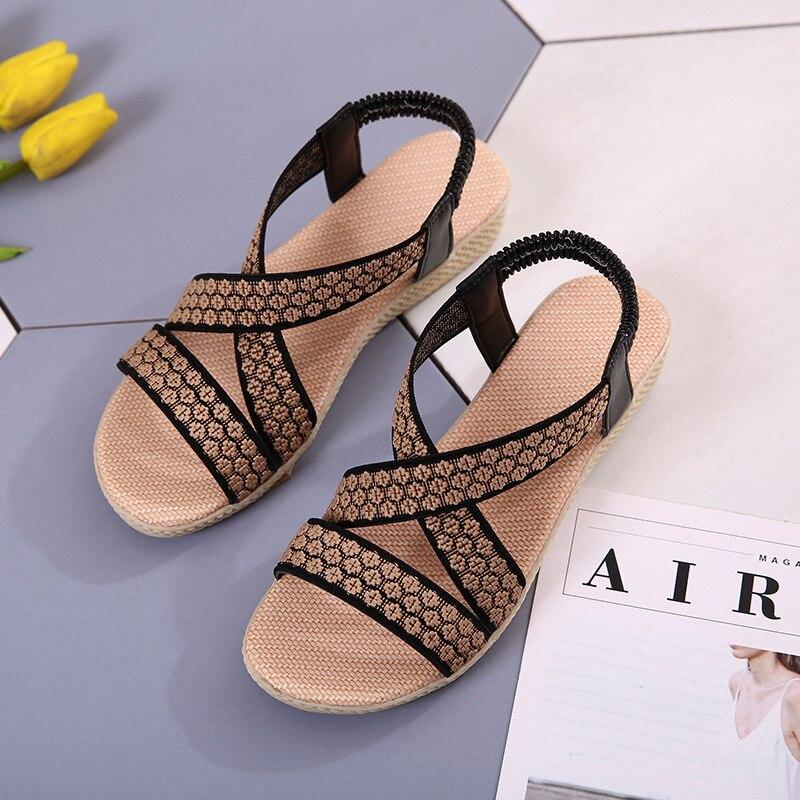 Summer Sandals Women Casual Beach Flat Shoes 2018 New Arrival Bohemian Sandles Gladiator Wedges Slingback Sandalias Mujer girl shoes in sri lanka
