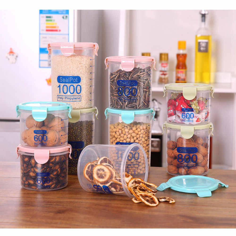 Plastic Sealed Cans Kitchen Storage Box Transparent Food Canister Keep Fresh Jar