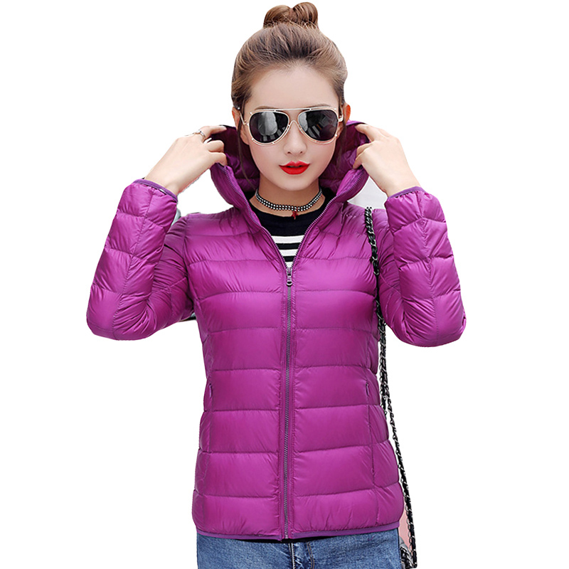 90% White Duck   Down   Hooded Jackets 12 Solid Color Lightweight   Down     Coats   Slim Warm Autumn Winter Ultra Light Women   Down     Coats
