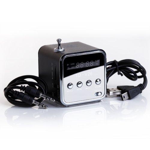 TD-V26 Mini altavoz portátil con Digital y Micro SD/TF/USB/FM-Negro