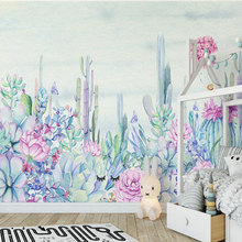 Hand-painted Leaf Cactus Photo Wallpapers for Walls 3D Murals Wallpaper for Living Room Children Wall Papers Home Decor Flowers 3d stereoscopic wallpapers for walls 3d custom photo cartoon pattern wall papers kids room murals livimg room home decor flowers