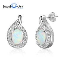 Geometric White Opal Stud Earrings 925 Sterling Silver Earrings Silver 925 Jewelry Fine Gift for Women (Jewelora EA103255)