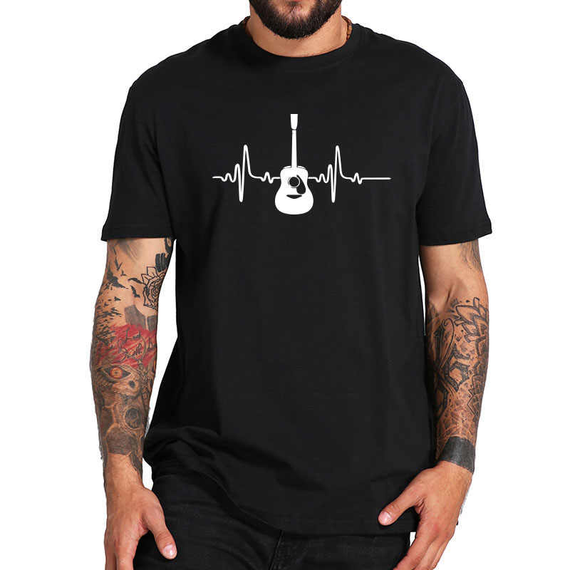 Guitar T shirt Music Fashion O-Neck Casual Tshirt 100% Cotton Breathable Fitness Top Hip Hop T-Shirt