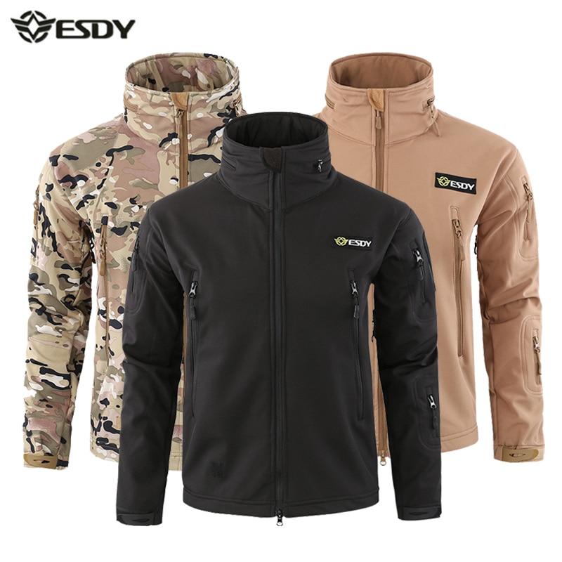 Men Winter Softshell Jacket Hooded Heated Outdoor Sport Fleece Jackets Waterproof Hiking Windbreaker Tactical Camping Clothing