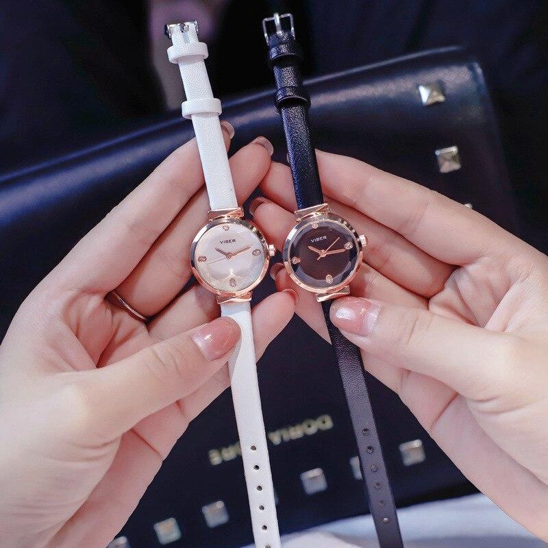 Luxury Fashion Casual Ladies Small Watches Rhinestone Charm Women's Dress Watch Black White Female Leather Quartz Wristwatches