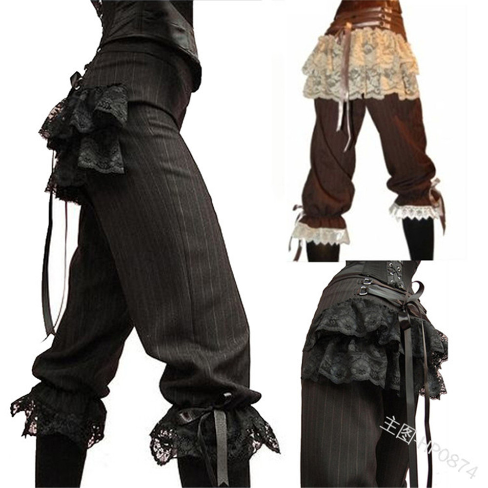 Trousers Waist-Pants Steampunk Pirate Vintage Women Lace Patchwork Elastic Leisure Gothic