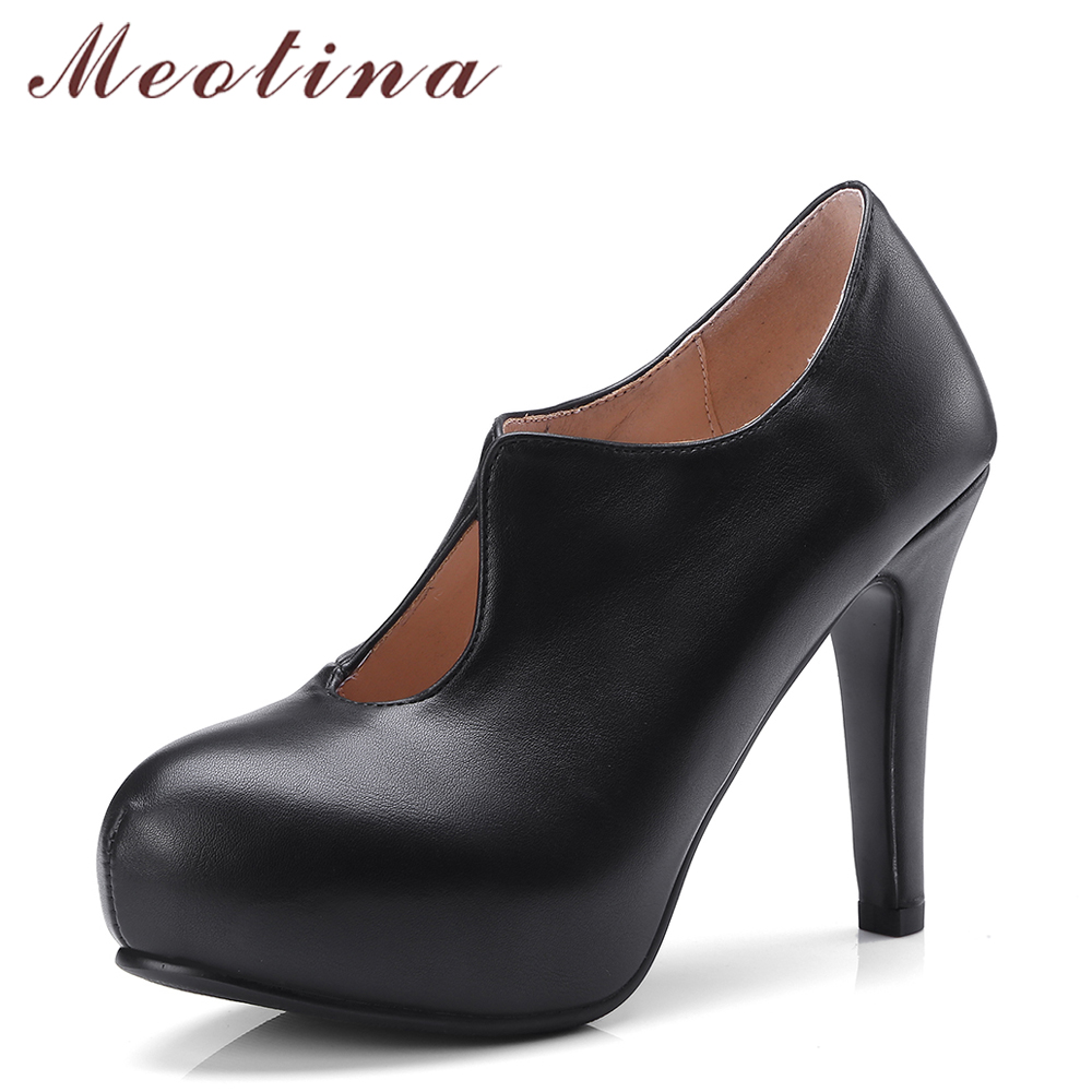 Meotina Women Shoes Platform High Heels Office Lady Shoes Black Thin Heels Career Shoes Female 2018 Spring Pumps Big Size 34-43 meotina women wedding shoes 2018 spring platform high heels shoes pumps peep toe bow white slip on sexy shoes ladies size 34 43