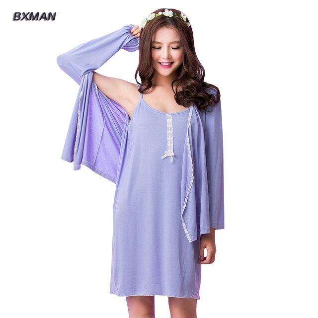 9986595d21518 BXMAN-Marque-Femmes-Chemises-de-Nuit-2-Pi-ces-Doux-Solide-Fiber-De-Bambou- Femmes-Chemises.jpg_640x640.jpg