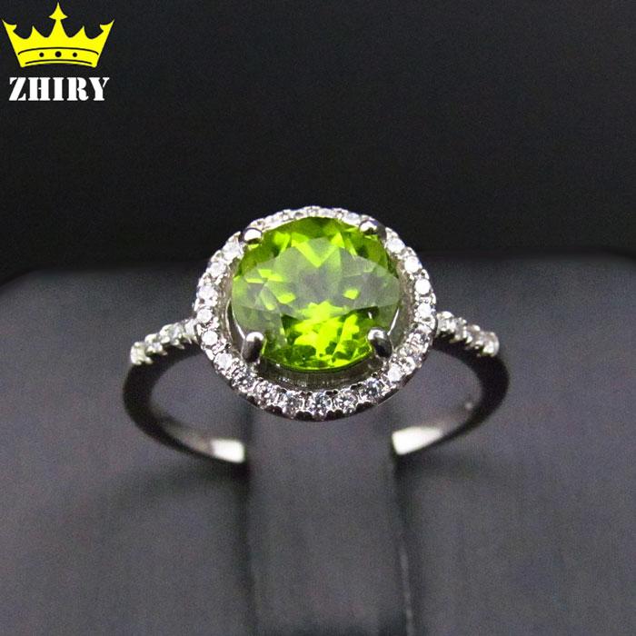 Women natural Peridot gem stone ring Genuine Solid 925 sterling silver rings jewelryWomen natural Peridot gem stone ring Genuine Solid 925 sterling silver rings jewelry