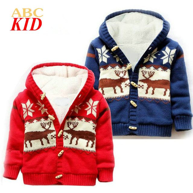 Christmas veados natal infants coat moose casaco de natal sweater with deers hooded fleeces jackets Horn Button outfits KD077
