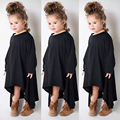 Fashion Baby Girls Kid Spring Swing Max Batwing Full Dress Black O Neck Loose Asymmetric Party Dress
