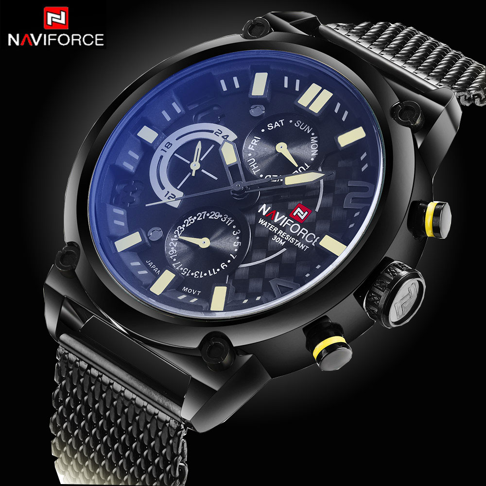CHRONOGRAPH 24 Hours Function Sport Watch Stainless Steel Band Luxury Men Watch Men Top Brand Military