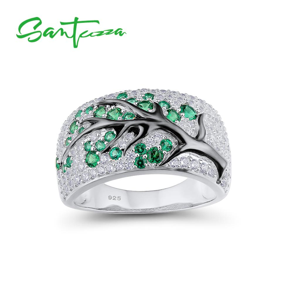 SANTUZZA Silver Ring for Women Green Spinels Gem Stone Cubic Zirconia Ladies Ring 925 Sterling Silver party Fashion Jewelry