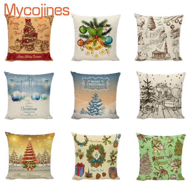 40New Design Cushion Cover Christmas Tree Pillowcase Bell Old Man Gorgeous Pine Cone Decorative Pillows